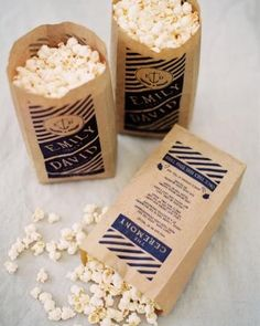 Bags of popcorn that double as ceremony programs? Sign us up!