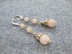 Rose Quartz Bell Earrings, pastel pink gemstone jewelry, drop earrings, silver bells, long dangle earrings with pink crystal - pinned by pin4etsy.com