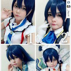 #Repost @_ha.ni  My umi sonoda costume list:  1. Bokura wa ima no naka de 2. No brand girls 3. Kaguya no shiro de odoritai 4. Mogyutto  Next: 1.  2.  Ahahaha  #umisonoda #lovelive  Wah bnyk costumnya ya..  #cosplay #banjarcosplay #animelovers #umi #sonoda #banjaranime #bluehair #idolproject #beuty #indonesiacosplay #animecosplay