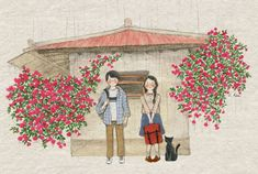 Image shared by Naty. Find images and videos about girl, boy and cat on We Heart It - the app to get lost in what you love. Art Sketches, Art Drawings, Et Wallpaper, Korean Artist, Cute Images, Illustrations And Posters, Cute Love, Watercolor Paintings, Artsy