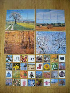 A la douce: La roue des saisons (l s'agit de quatre grandes images (symbolisant chacune une saison) et de 32 cartes-photos, à redistribuer sur chacune d'elles.)