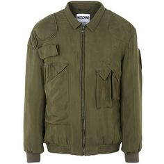 Moschino Jacket ($748) ❤ liked on Polyvore featuring men's fashion, men's clothing, men's outerwear, men's jackets, military green, mens green military jacket, mens olive green jacket, mens padded jacket, mens zipper jacket and mens army green jacket