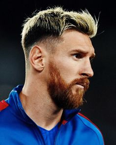 Mens Hairstyles With Beard, Cool Hairstyles For Girls, Easy Bun Hairstyles, Haircuts For Men, Men's Hairstyle, Marco Reus Haircut, Lionel Messi Haircut, Messi Beard, Soccer Player Hairstyles