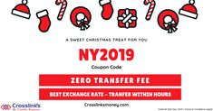 This New Year!, Get ZERO Transaction Fee on all your Money Transfers via Crosslinks Money. Exchange Rate, Best Rated, Christmas Treats, Zero, Coding, Money, Silver, Christmas Snacks, Programming