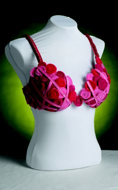 Bra designed by Denise Sussman titled When in Doubt, Check it Out. This bra pays tribute to a young family member who we lost to breast cancer. Our message to all women is: when in doubt, check it out. Your health may depend on it.
