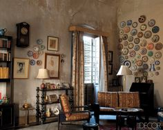 I love the walls.  I love the window treatment. I even love the wall of plates!