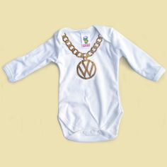 Personalised baby onesie/body suit  - 80s inspired VW gold chain. £12.00, via Etsy.
