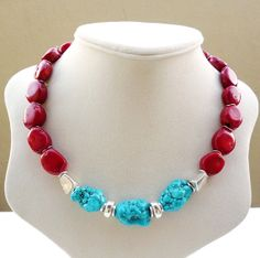 SOLD - Red Coral and Turquoise Statement Necklace by BigSkiesJewellery #redcoral #coraljewelry #coral #turquoise #necklace