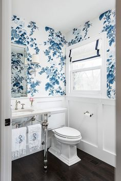 Bathroom Schumacher Pyne Hollyhock Indigo Wallpaper and White Roman Shade with Blue Trim (Molly Griggs Interiors-Photography Marina Storm) bathroom Schumacher Pyne Hollyhock Wallpaper in Indigo 5006922 - 2 Roll Minimum Diy Bathroom, Bathroom Basin, Bathroom Interior, Small Bathroom, Master Bathroom, Wall Paper Bathroom, Blue Bathrooms, Bathroom Marble, Silver Bathroom