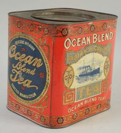 Ocean Blend India & Ceylon Tea tin ... square red tin with blue and gold design of ocean liner or steamship at sea, inset lid, Hamilton, Ontario, early 20th century, Canada