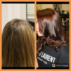 Before and after - mahogany with caramel sun kissed highlights