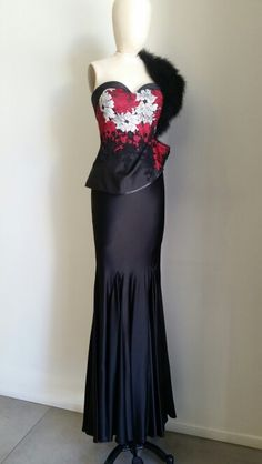 #Les Habitudes #Los Angeles Black Silk Red /Silver Lace Bustier with Bias Silk Charmeuse  Godet skirt!  Gorgeous!