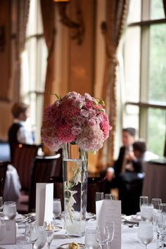 Pink roses & hydrangea.