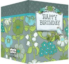 Happy Birthday card with floral design and gray and blue bird.  Blank inside.  Available wholesale or retail:  http://www.violetcottage.com/birthday/255-happy-birthday-card-blank-inside-turquoise-olive-flowers-bird.html