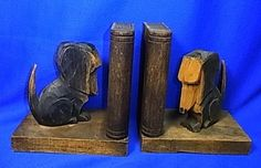 Vintage German Wood Carved Dachshund Book Ends