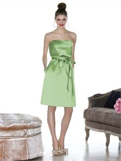 Knee-length Strapless With Sash Apple Green Bridesmaid Dress BD0267 www.simpledresses.co.uk £64.0000