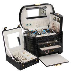 Extra Large Black Jewelry Storage Box Luxury Jewellery Cabinet Watch
