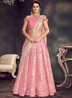 Pink Brocade A Line Lehenga Choli 114805