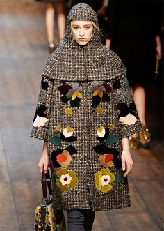 Tweed coat with flower decorations, Dolce & Gabbana