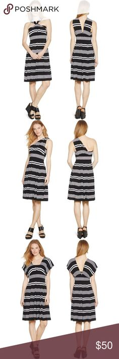 White House Black Market Convertible Striped Dress Mint condition - no tears, stains, pilling, or holes. This is the genius convertible dress that can be styled 4 different ways. Measurements laying flat: armpit to armpit 13.5 inches; waist 12.5 inches; shoulder to hem 36 inches. Shell: 95% Rayon 5% Spandex Lining: 92% Polyester 8% Spandex   I ❤️ offers. White House Black Market Dresses Midi