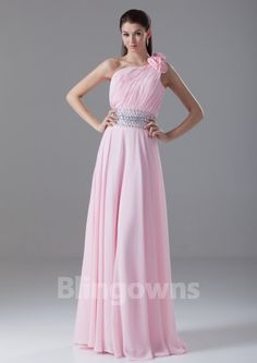 Pink One Shoulder Floor Length Chiffon Crystals A-line Sleeveless Evening / Prom Dresses