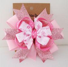 Pink Glitter Hair Bow Babys First Birthday 4 Inch