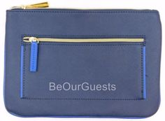 Estee Lauder Cosmetic Make-up Bag Navy Blue 2 Zipper Thin New #EsteLauder