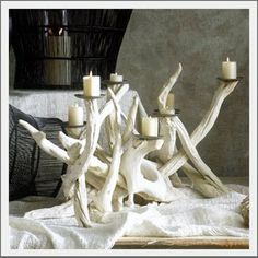 beachy candleholder - could integrate florals, succulents, fruit, etc.