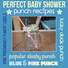 Easy baby shower punch recipes and free printable labels! Also cute ways to decorate punch glasses and cups. Get the recipes for slushy punch, blue ducky punch, raspberry punch and more! #babyshower #punchrecipes cutestbabyshowers.com