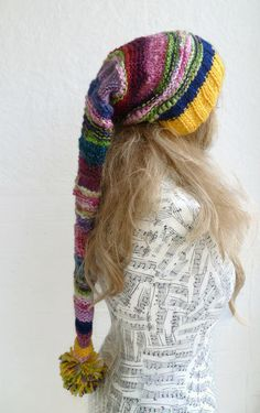 Long Tail Stocking Hat - Women Elf Hat - Hand Knitted Festival Hat - Multi Colour Pixie Hat - Long Tailed Slouchy Beanie - Clickclackknits by Clickclackknits on Etsy