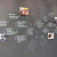 'SignElements' used small StandOffs to create dimensionality in this donor wall at a public library. Museum Exhibition Design, Exhibition Display, Exhibition Space, Design Museum, Display Design, Booth Design, Wall Design, Wayfinding Signage, Signage Design