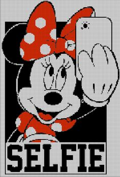 Minnie Mouse selfie cross stitch pattern in pdf - quadro Mickey Mouse E Amigos, Mickey Y Minnie, Mickey Mouse And Friends, Minnie Mouse, Cross Stitching, Cross Stitch Embroidery, Disney Cross Stitch Patterns, Disney Cross Stitches, Pix Art