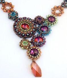 Mardi Gras beaded bezels necklace    #beadwork by sharron