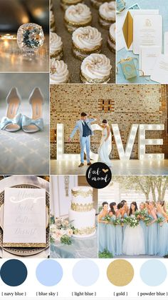 blue and gold wedding colors palette