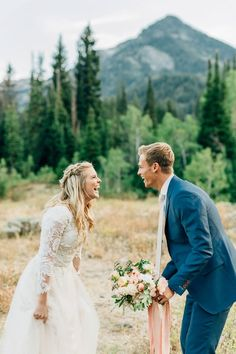 Mountain Bridal Formal Session First Look Utah Photographer Breanne Weston Candid Wedding