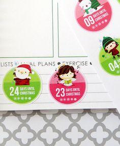Christmas Countdown Planner Stickers for Erin Condren by KGPlanner