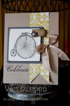 Kimberly Van Diepen stampin up demo.  This old bike makes me think masculine... change up the color of the DSP a bit and maybe twine in place of the ribbon and another brad...