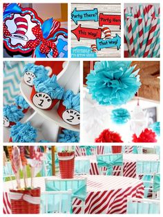 Dr. Seuss Theme Party birthday and baby shower party ideas   #drseuss #birthday #redaqua #kidsparty #birthdayparty #babyshower