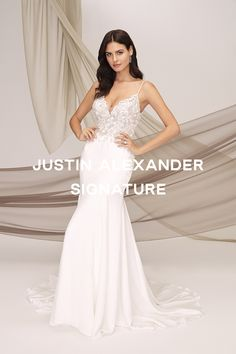 Feel glamorous in this crepe mermaid gown featuring a beaded bikini bodice and subtle floral appliques. Godets around the skirt complete the look. #jasbride #justinalexanderbridal #justinalexandersingature Wedding Bells, Our Wedding, Wedding Stuff, Justin Alexander Bridal, Mermaid Gown, Formal Dresses, Wedding Dresses, Appliques, Marie