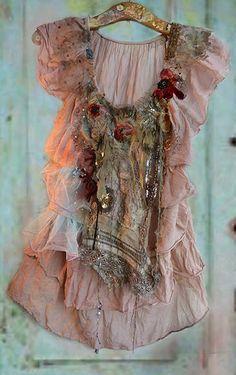 Unique Art To Wear   ANTIQUE POPPIES Boho Romantic Gipsy Marie AntoinetteTattered Hippie Feminine