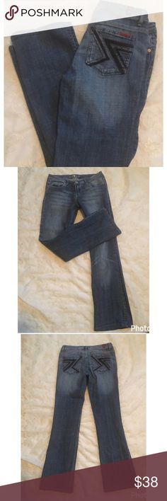 7 FOR ALL MANKIND 'FLYNT'JEANS 26x29 Blue boot cut jeans. Excellent condition. Size 26. Inseam approximately 29 inches. Rise approximately 9 inches. 98% cotton/2% polyurethane 7 For All Mankind Jeans Boot Cut