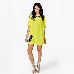 QUEEN?Women's Neon Colour Dresses Short Sleeve Strapless Off Shoulder Above Knee Dresses Loose Beach Dresses - #Ladies Wear #Spring Dress #Summer Dress #Casual Dresses