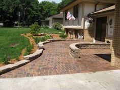 Stylish Brick Wheelchair Ramp by Patios PlusUniversal Design Style