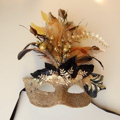 Black and Gold Feather Waterfall- fairy, Mardi Gras, Venetian, masquerade mask via Etsy