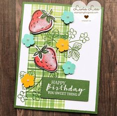 Greeting Cards Handmade, Stampin Up Cards, Stamping, Blessed, Scrap, Paper Products, Strawberries, Mini, Birthday