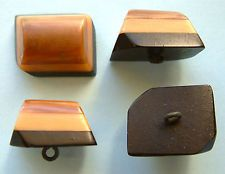 4 Vintage Stacked Art Deco Celluloid Buttons, A Trapezoid Shape In 3 Colours
