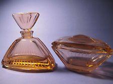 Vintage Czech Glass Pink Perfume Bottle and Dresser Jar