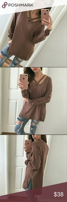 BOUTIQUE top Purchased this top from the wonderful Allie @mrsalliexo. Check out her closet it's amazing. Photo credit to her first 3 photos. This top is so soft! Features an X style, long sleeve, side slits and loose fit. New with tags. 60% cotton 40% polyester Boutique Tops