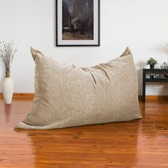 Latitude Run® Large Bean Bag Chair & Lounger & Reviews | Wayfair Bean Bag Pillow, Bean Bag Sofa, Large Bean Bag Chairs, Large Bean Bags, Bean Bag Lounger, Playroom Furniture, Chenille Fabric, Childproofing, Floor Pillows