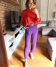 Fashion Tips Jeans .Fashion Tips Jeans Purple Pants Outfit, Purple Outfits, Colourful Outfits, Colorful Fashion, Color Blocking Outfits, Simple Fall Outfits, Casual Outfits, Fashion Outfits, Jeans Fashion